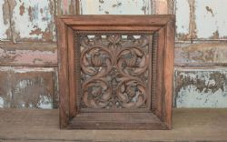 rare 19th century wooden jali panel with tree of life carving, bikaner